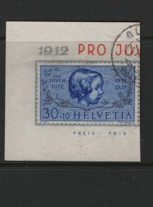 SWITZERLAND, B89 Souvenir Sheet, Used, 1937 Simulated Perforation in Silver