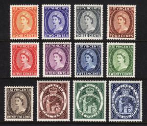ST. VINCENT — SCOTT 186-197 (SG 189-200) — 1955 QEII SET — MNH — VF — SCV $44.00
