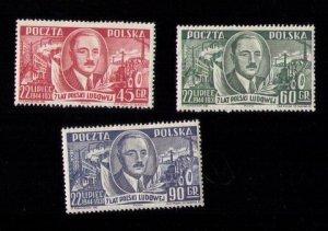 POLAND Sc 518-520 MH President Boleslaw Bierut Complete Set F-VF (1951):