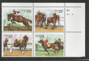 US  2759A  MNH,  PLATE BLOCK,  SPORTING HORSES