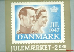 Denmark.1 Post Office,Display,Advertising Sign.King & Queen. Christmas Seal 1947