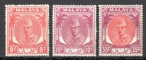 Malaya Kelantan Sc# 55-70 (Assorted) MH 1951 Sultan Ibrahim Various Values