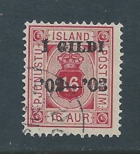 Iceland #O28 Used 16a Crown Official Ovptd.