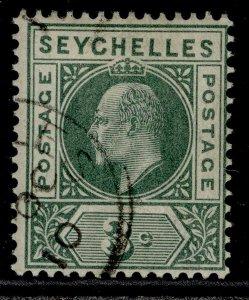 SEYCHELLES EDVII SG47, 3c dull green, FINE USED.