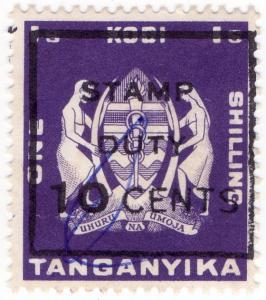 (I.B) KUT Revenue : Tanganyika Kodi 1/- (Stamp Duty 10c OP)