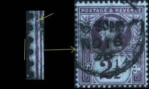 GB - QV - SG201 2 1/2d purple/blue DENT & MISSHAPED FRAME LINE AT LEFT flaw -VFU