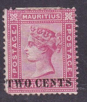 Mauritius 1891 QV Two Cents on 17c rose Type 'K'  FINE+/Mint(*)