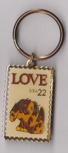 Metal Key Ring Featuring the Scott #2202 Love Stamp