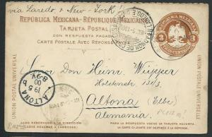 MEXICO 1908 3c postcard used to Germany....................................66194