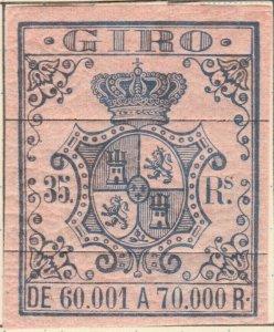ESPAGNE / SPAIN / ESPAÑA 1861 Sello Fiscal (GIRO) 35 reales - Barrado con Goma