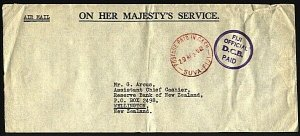 FIJI 1969 OHMS cover POSTAGE PAID IN CASH, Official / DCB / Paid...........71945