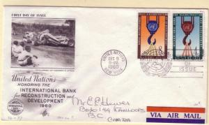 United Nations FDC Sc. # 86 /  87 Reconstruction      L 88