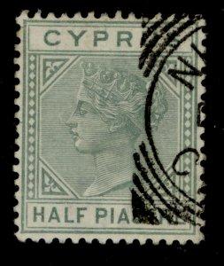 CYPRUS SG16a,  ½pi emerald green, FINE USED.
