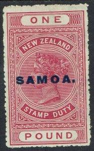 SAMOA 1914 QV NEW ZEALAND £1 PERF 14½ X 14
