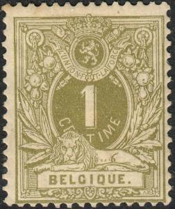 Belgium 1884 1c Olive MH Spacefiller