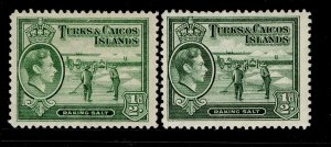 TURKS AND CAICOS ISLANDS GVI SG195 +195a, ½d SHADES, M MINT. Cat £12.