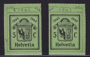Switzerland 1943 Semi-Postal Arms of  Geneva Stamps Cut From Sheet  VF/NH(**)