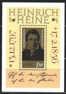 GDR. 1972. bl 37. Heine, poet. MNH.