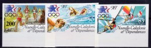 New Caledonia 1984 Sc#C197/C199 LOS ANGELES OLYMPICS  Set (3) IMPERFORATED MNH