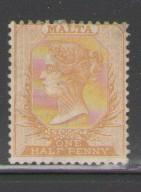 Malta Sc 3c 1880 1/2d orange yellow Victoria stamp mint