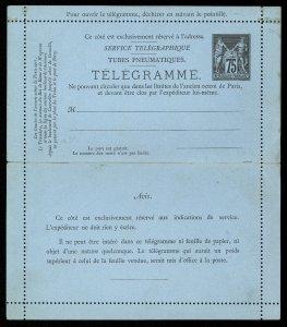 fr022 France Tubes Pneumatiques Telegramme letter card unused 75 centimes black