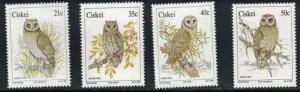 Ciskei SC163-166 Owls:MarshOwl-ScopsOwl-BarnOwl-WoodOwl MNH 1991
