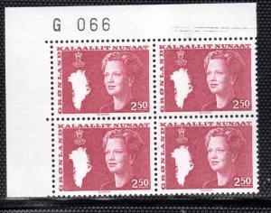 Greenland Sc 127 2.5 kr Queen stamp plate block of 4 mint NH