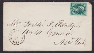 US Sc 158 on c. 1875 Readville Station, MA DPO Cover