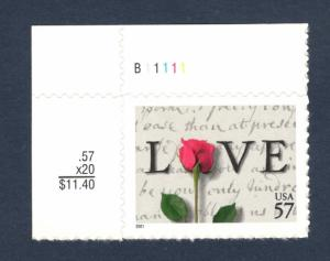 3551 Love Letters US Single W/Plate Number Mint/nh (Free Shipping)