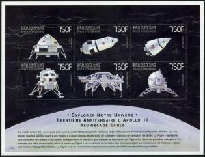 Guinea 1615-1616 af sheets,MNH. Space exploration,1999.Lunar ferry,lander;Apollo
