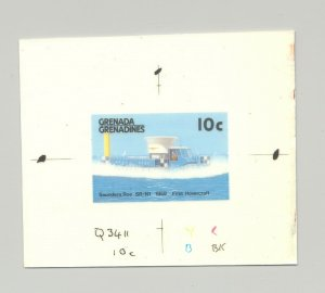 Grenada Grenadines #877 1st Hovercraft, Hydrofoil 1v. imperf chromalin proof