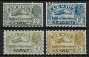 KUWAIT SG31/4 1933-4 AIR STAMPS OVPT ON INDIA MTD MINT