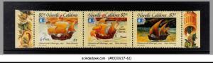 NEW CALEDONIA - 1992 WORLD COLUMBIAN STAMP EXPO / SHIPS - SE-TENANT 3V MNH