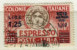 ITALY; 1940s Postmark on Libia Espresso issue surcharged 1.25L
