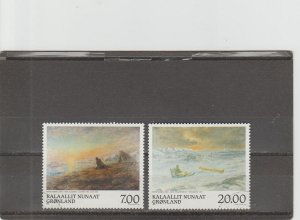 Greenland  Scott#  349-350  Used  (1999 Paintings)