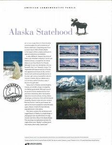 USPS COMMEMORATIVE PANEL #830 ALASKA STATEHOOD #4374