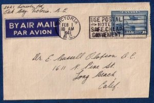 Canada Sc #C6 Postal History Cover Airmail (1941)Victoria BC To Calif.USA