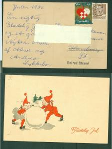 Denmark. Christmas Card 1956 With Seal + 20 Ore. Santas Playing With Snowball.