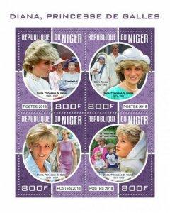 HERRICKSTAMP NEW ISSUES NIGER Princess Diana Sheetlet