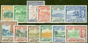 St Kitss & Nevis 1952 set of 12 SG94-105 Fine Lightly Mtd Mint