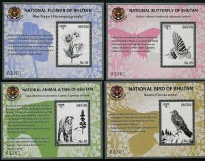 HERRICKSTAMP NEW ISSUES BHUTAN Sc.# 1557-60 Flora & Fauna 2016 Souvenir Sheets