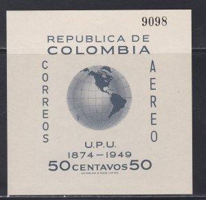 Colombia #  C199, UPU 75th Anniversary, Souvenir Sheet, NH, 1/2 Cat.