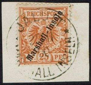MARSHALL ISLANDS 1897 EAGLE 25PF USED ON PIECE
