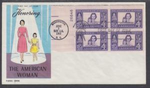US Mel 1152-11 FDC. 1960 4c American Woman, Plate Block, Fluegel Color Cachet