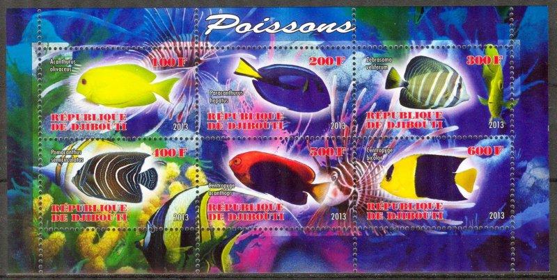 Djibouti 2013 Marine Life Fishes Sheet MNH** Cinderella !