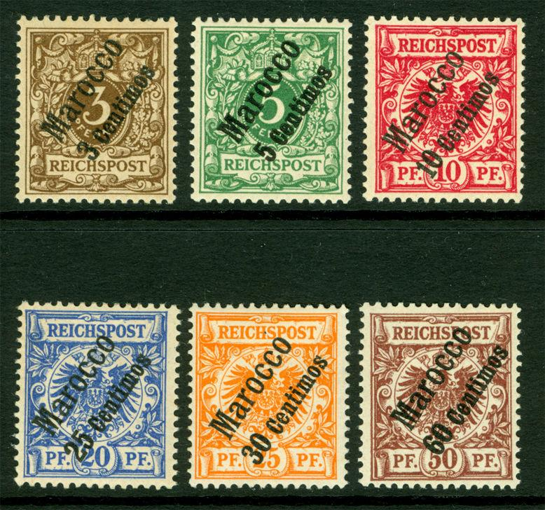 German Colonies - Offices in MOROCCO 1899  SURCHARGED SET Sc# 1- 6 MINT MH
