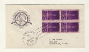 US - 1939 - Scott 852 FDC (block of 4) Golden Gates Exhibition (Farnam Cachet)