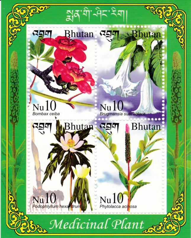 Bhutan 2002 Medical Plants Souvenir Sheet of  4.  VF/NH