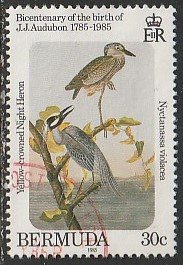 1985 Bermuda - Sc 466 - used VF - 1 singles - Yellow-crowned night heron