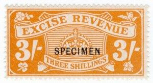 (I.B) Excise Revenue : 3/- Orange (1916) specimen